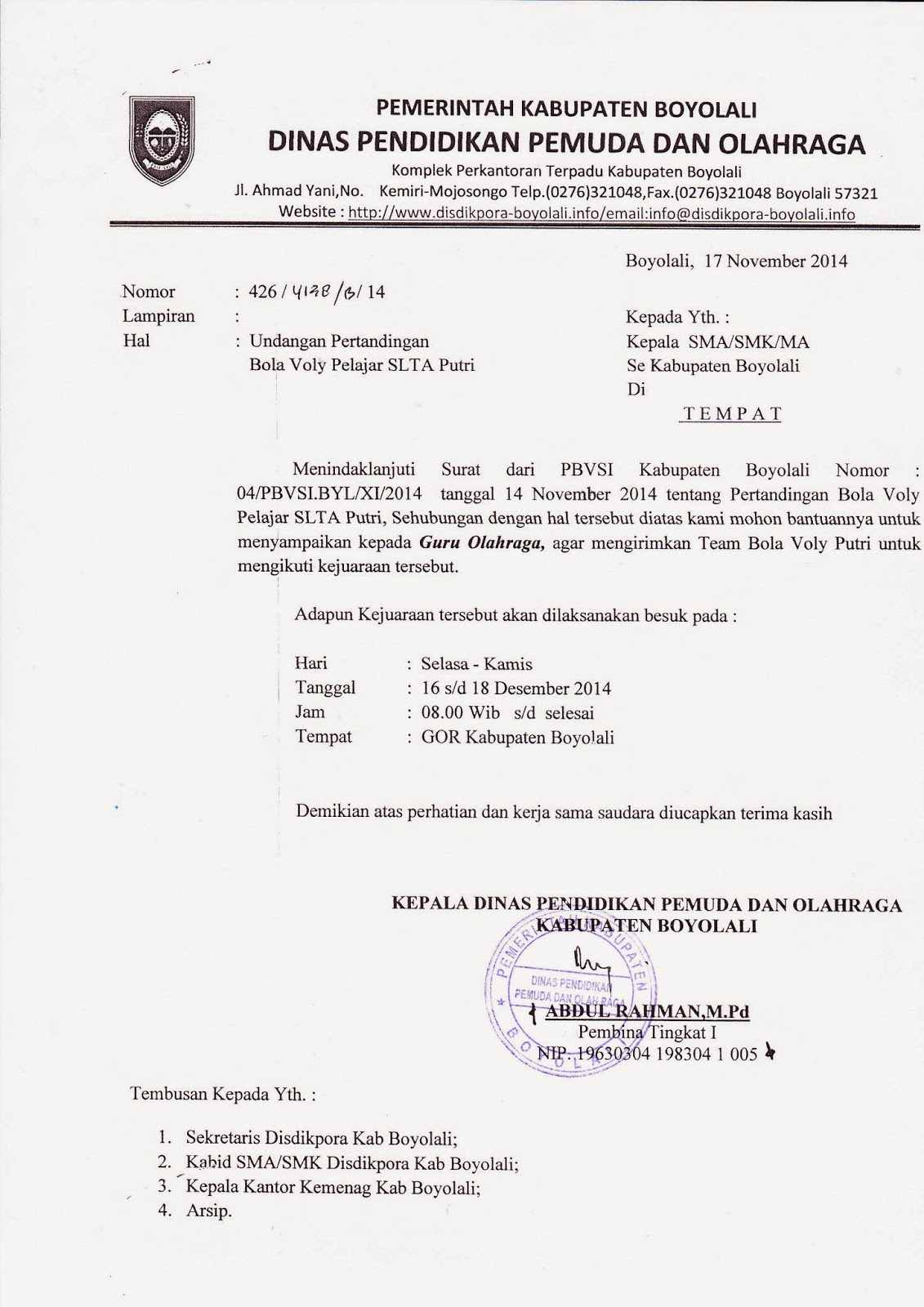 Contoh Surat Dinas Undangan Universitas Surat W