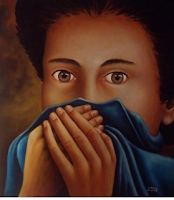 Image of young girl with mouth shrouded