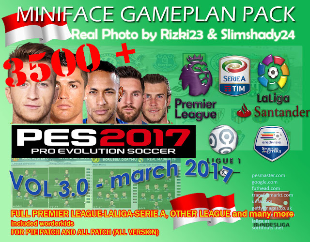 PES 2017 3500+ Miniface Gameplan vol 3.0 by Rizki23 and Slimshady24