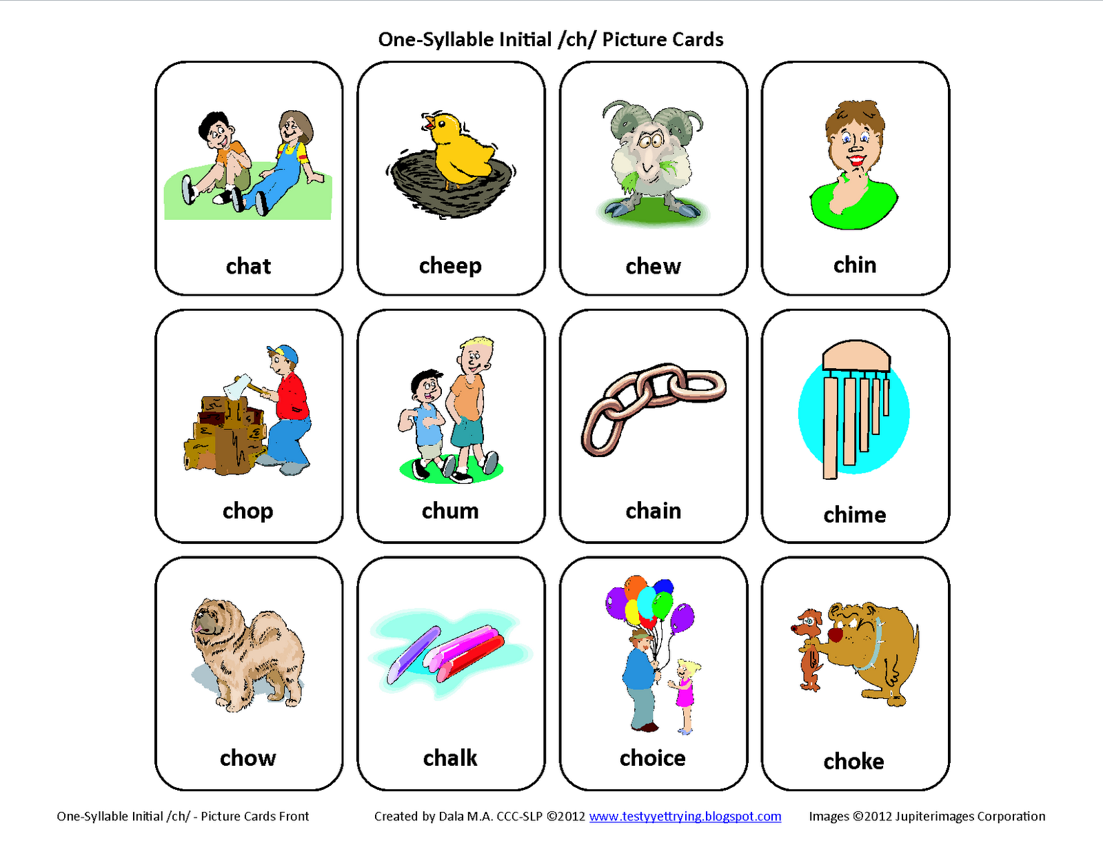 Testy Yet Trying Initial Ch Free Speech Therapy Articulation Picture Cards