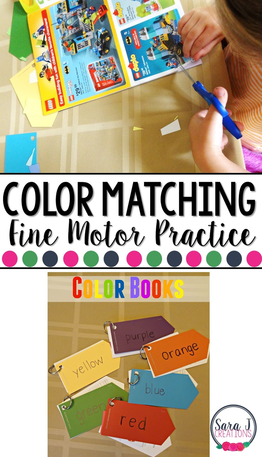 Love this DIY color book for kids that works on identifying colors and fine motor practice while they cut and glue.