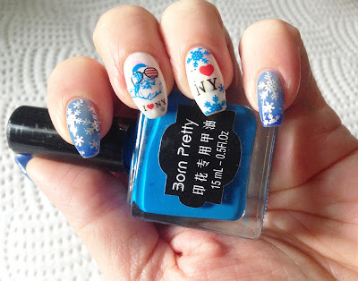 Born Pretty Review Blue Stamping Polish #17 christmas snowflake