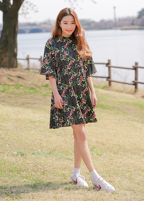 Floral Half Sleeve Dress