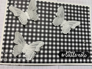 Butterfly card - A Little Note. White embossed butterflies on vellum