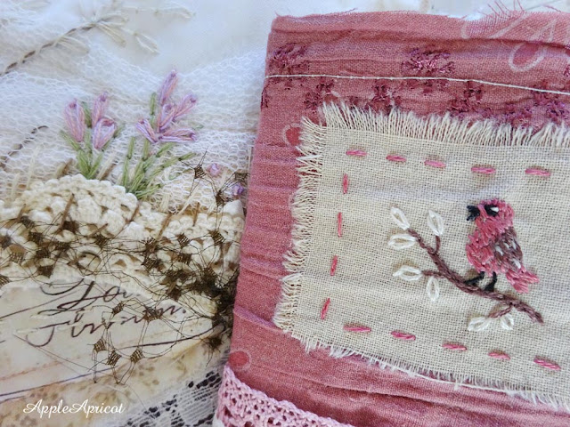 embroidered little bird and flowers by AppleApricot