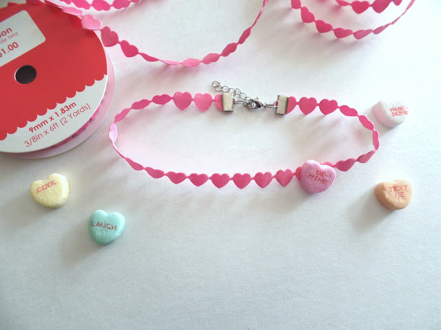 DIY heart ribbon choker necklace perfect for valentines day