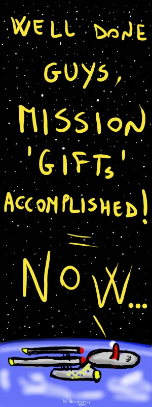 Cartoon: Enterprise starships congratulates its crew for accomplishing the mission 'gifts'