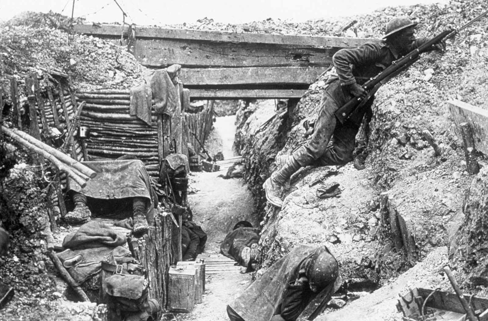The British trenches, manned by the 11th battalion, The Cheshire Regiment, near La Boisselle.