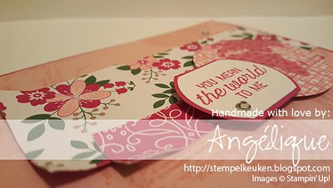 "http://stempelkeuken.blogspot.com Stampin' Up! Going Global Angélique Nederpel  Blushing Bride, Going Global, Love Blossoms DSP, Piercing Tool, Rhinestone Basic, Rose Red, Wink Of Stella, World Traveler, 2"" Circle Punch"