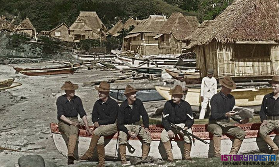 American soldiers relaxing at a fishing village (c1900)