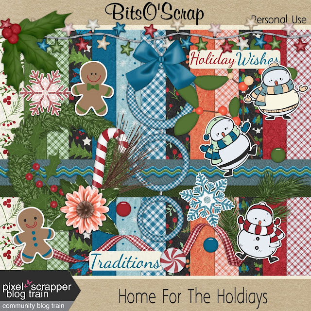 "Free scrapbook ""Home for the Holidays"" (boy) from Bits O Scrap"
