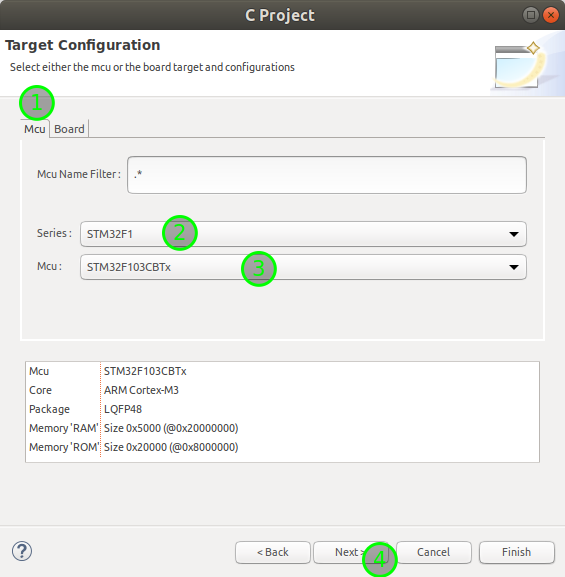 Select target CPU in Eclipse