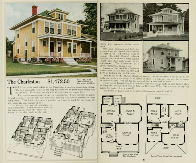 yellow house, several black & white house photos, floor plans: Aladdin Charleston, 1917 Aladdin catalog