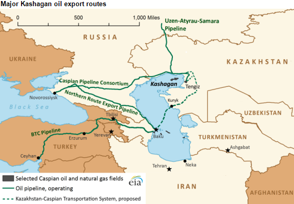 Major Oil Pipelines in Caspian Sea Energy Corridor
