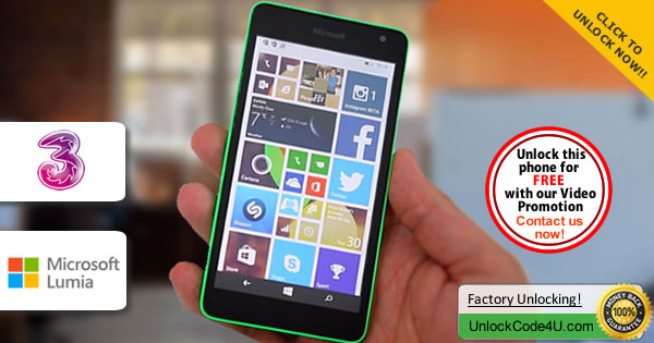 Factory Unlock Code Microsoft Lumia 535 from Three Network