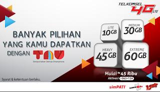 daftar paket internet telkomsel TAU 4G harga Rp 45.000