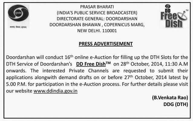 Press Advertisement for DD Freedish 16th e-Auction on 28th October 2014