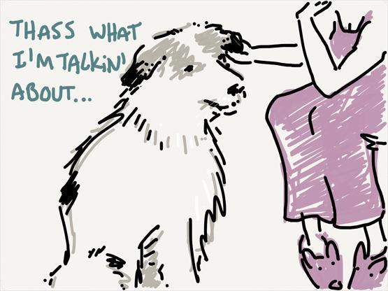 dog gets rub behind the ears