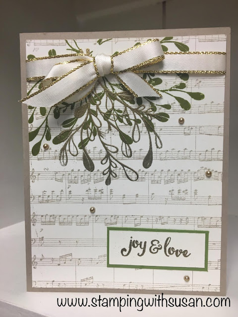Stampin' Up! Mistletoe Season, Sheet Music, Gold Embossing powder