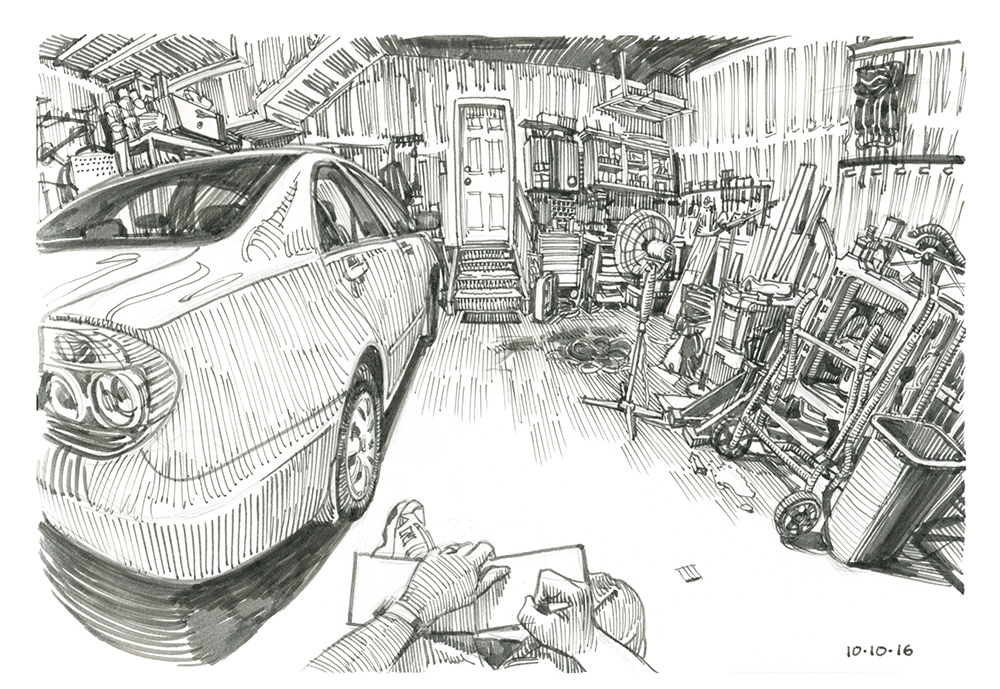 07-In-the-Garage-Paul-Heaston-Urban-Sketcher-in-Moleskine-Drawings-www-designstack-co