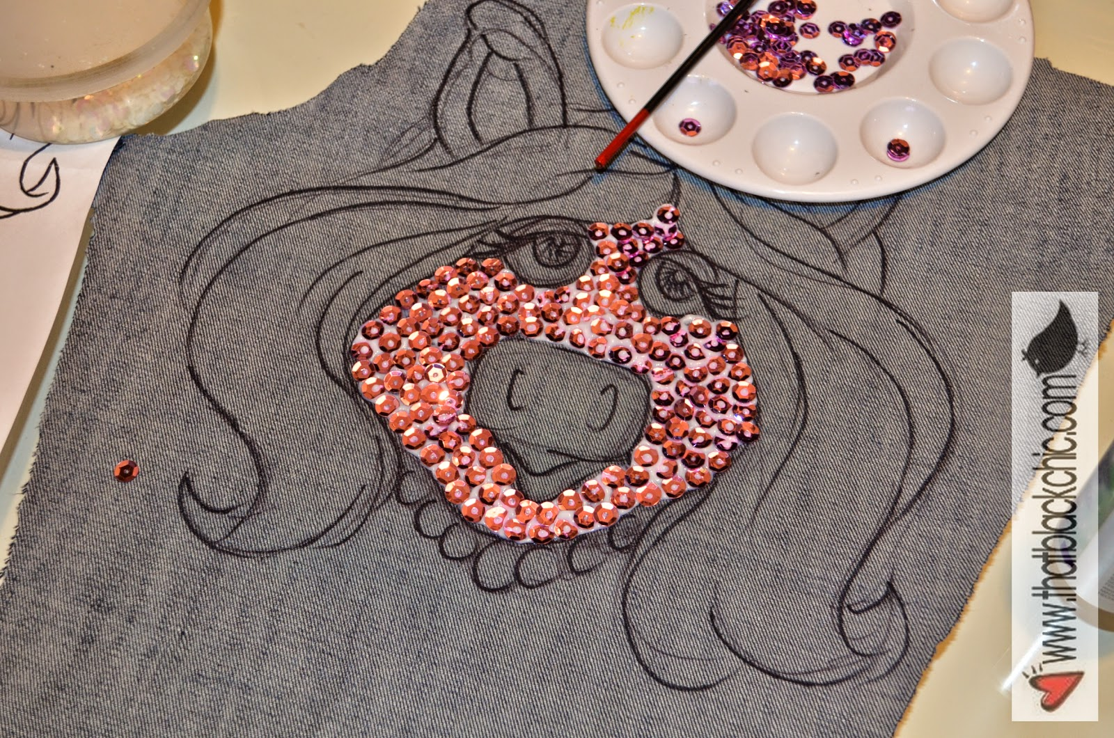 Miss Piggy Hand Made Sequin Jacket Applique That Black Chic
