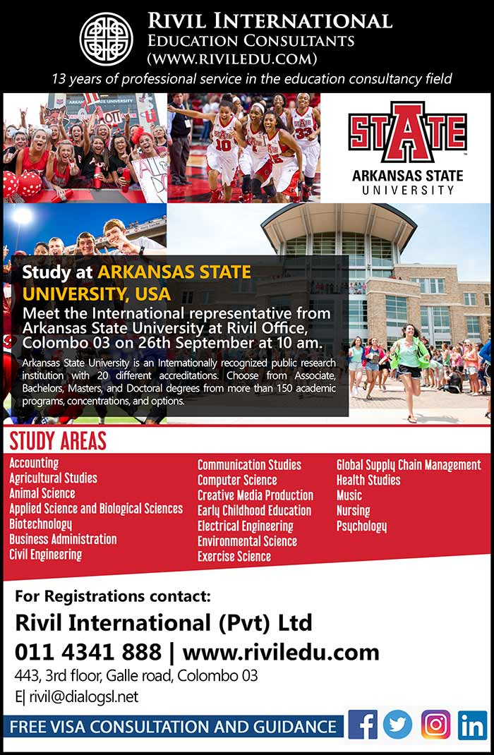 Study at Arkansas State University, USA - Meet the International representatives at Rivil Office