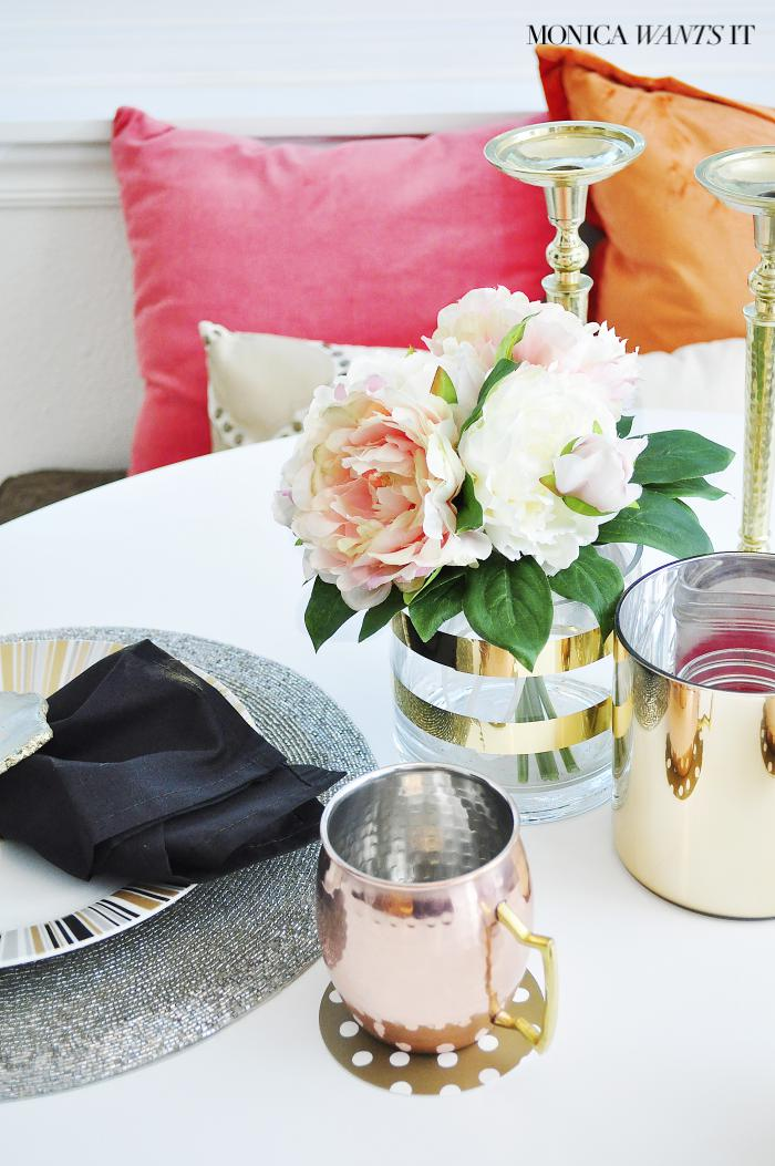 Pink, coral and gold breakfast nook decor inspiration.