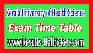 Kerala University of Health Science PG Medical Diploma Supply Nov 2016 Exam Time Table