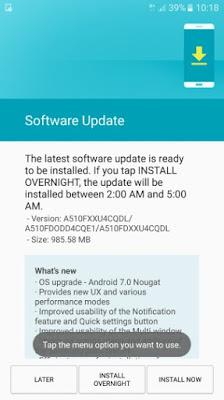 Galaxy A5 Nougat Update