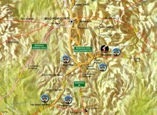 mapa da região das cidades históricas mineiras
