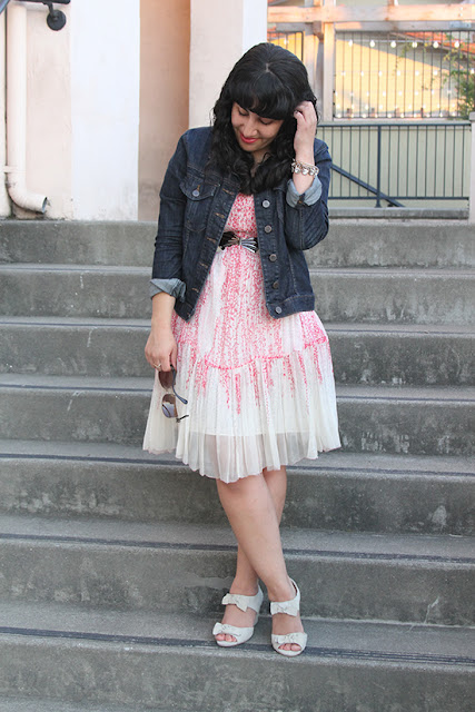 LE TOTE Denim Jacket and Floral Chiffon Dress