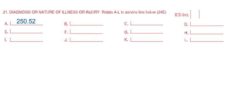 Box 21 ICD code