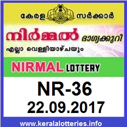 Kerala lottery result of Nirmal Lottery NR-36 on 22-09-2017