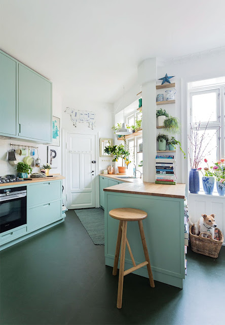 Beautiful kitchen-the green cabinetry is perfect! - design addict mom