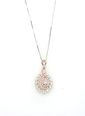 Entice Alina Collection_ All diamond pendant in white and rose gold