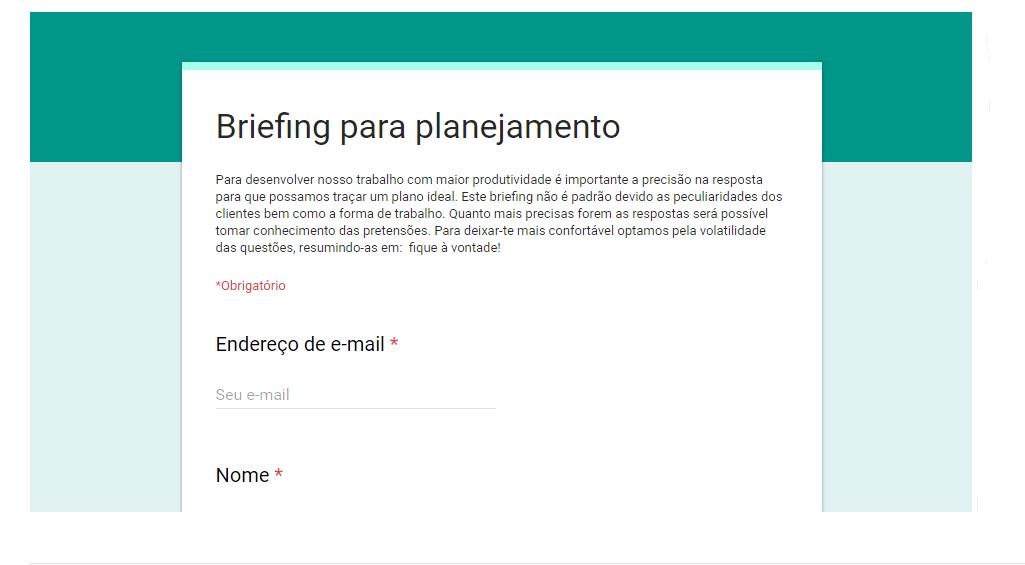 Briefing para  planejamento | Sisbran Comunicação e Marketing Localizado para Advogados