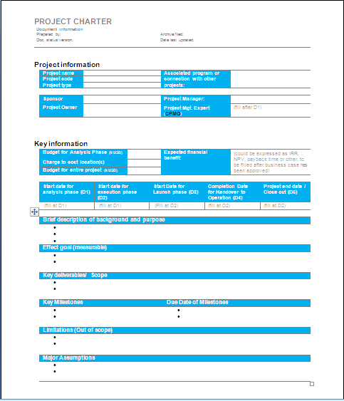 Project management project charter sample 1 for Software project charter template