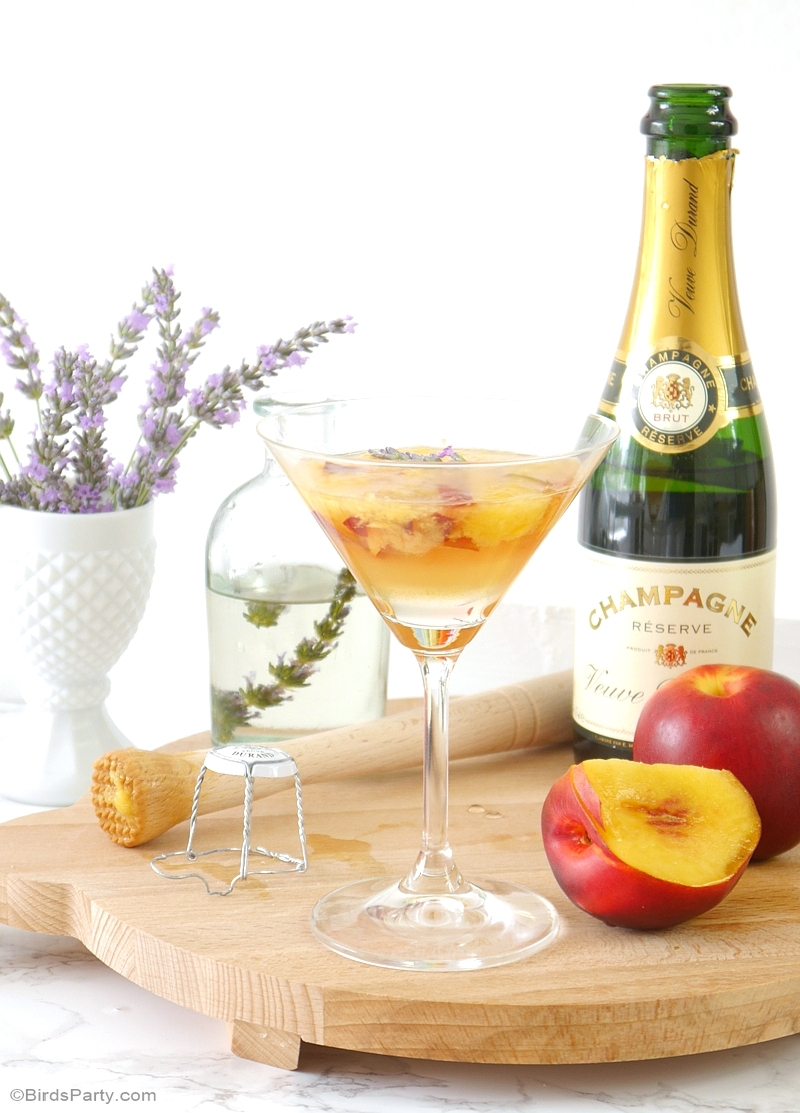 Lavender peach champagne cocktail recipe party ideas for Champagne mixed drinks