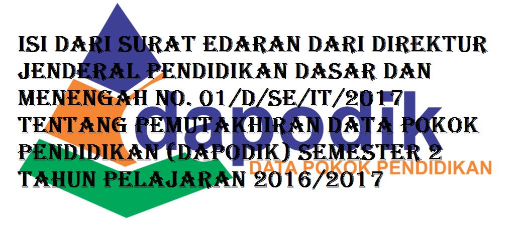 Pemutakhiran Data Pokok Pendidikan (DAPODIK) Semester 2 Tahun Pelajaran 2016/2017
