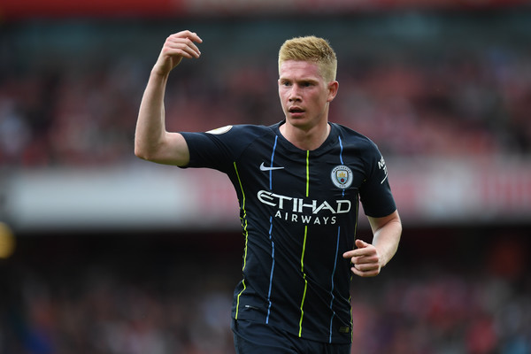 Kevin De Bruyne in action during Arsenal 0-2 Manchester City in the Premier League 2018/19 season opener