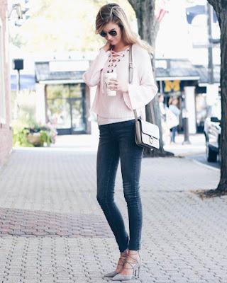 blusa lace up rosa