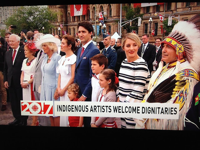 Screenshot CBC coverage Canada 150, Ottawa - Indigenous performers wait with dignitaries
