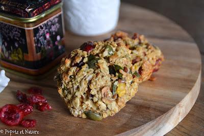 Biscuits aux flocons d'avoine, aux cranberries et aux graines de courge © Popote et Nature