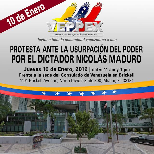 VEPEX CONVOCATORIA 10 ENERO  FRENTE A L CONSULADO DE VENEZUELA MADURO USURPA EL PODER