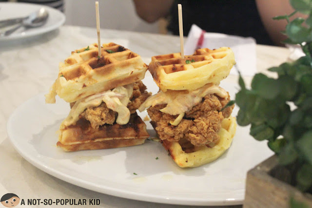 Chicken Burger using Waffles