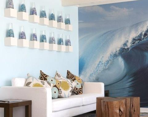 coastal seaglass collection on wall
