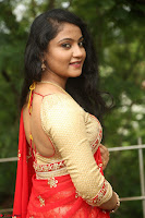 Akshara in Red Saree Golden Choli at LV Movie Makers Production No 1 Movie Opening ~  Exclusive 117.JPG