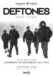 Concierto de DEFTONES regresa a Bogotá en 2018
