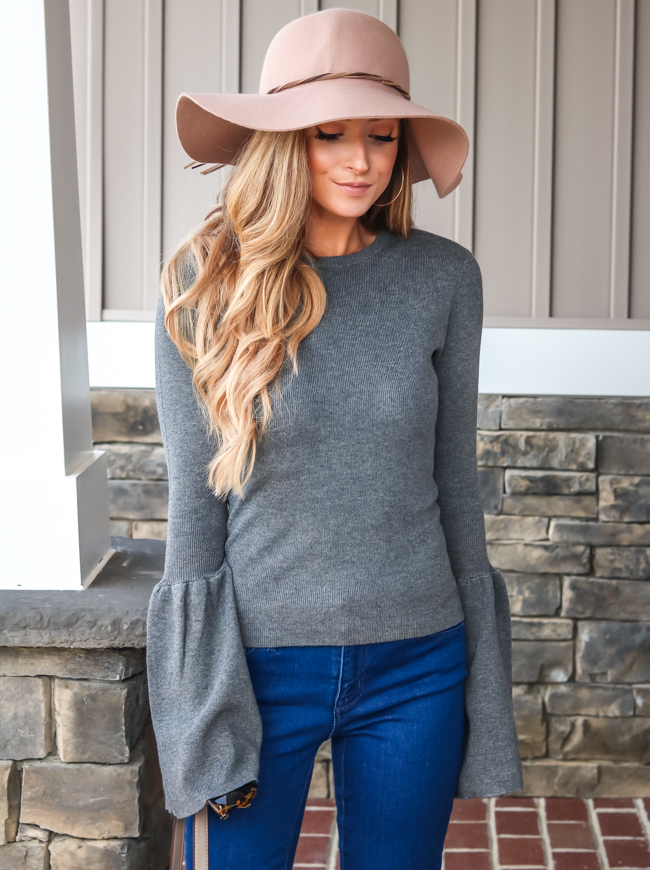 target floppy hat na-kd wide sleeve sweater target bell bottoms