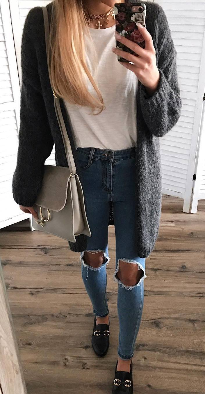 what to wear with a cardigan : bag + t-shirt + ripped jeans + loafers